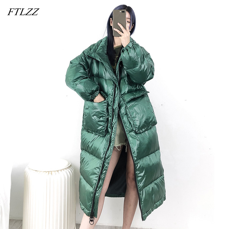 FTLZZ New Women Long   Coat   Winter White Duck   Down   Parkas Stand Collar Outwear Zipper Big Pocket Jacket Warm   Down     Coat