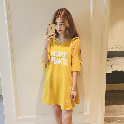 Off-Shoulder T-shirt Women's Spring And Summer 2018 Large Size Dress New Style Sweater Mid-length Loose-Fit Lettered Half-sleeve