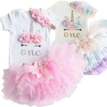Фатиновое платье-пачка для маленьких девочек на 1-й день рождения, наряды, летняя вечерние чная одежда с единорогом, Одежда для младенцев, од...