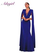 Элегантное осеннее облегающее длинное платье Adogirl без рукавов с глубоким V образным вырезом, женские сексуальные вечерние Клубные платья с открытой спиной, наряд, платья