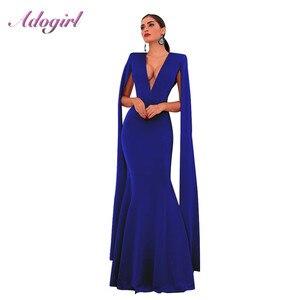 Image 1 - Элегантное осеннее облегающее длинное платье Adogirl без рукавов с глубоким V образным вырезом, женские сексуальные вечерние Клубные платья с открытой спиной, наряд, платья