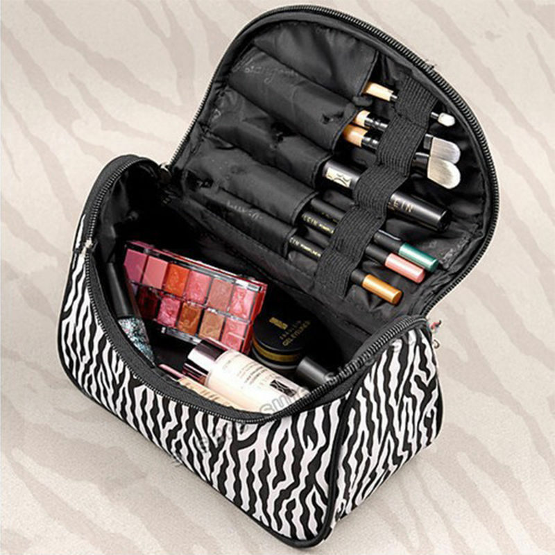 Hot Cosmetic Bag Large Capacity Women Makeup Bags Zebra Print Storage Travel Bags Organizor Trousse Maquillage Femme