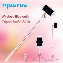 Musyue מתכת אלחוטי Bluetooth חצובה Selfie מקל עבור iPhone סמסונג Huawei טלפון שידור חי חדרגל עצמי מקל