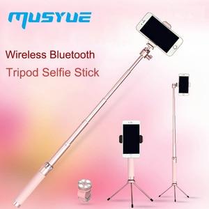 Image 1 - Musyue Metal Wireless Bluetooth Tripod Selfie Stick for iPhone Samsung Huawei Phone Live Broadcast Monopod Self Stick