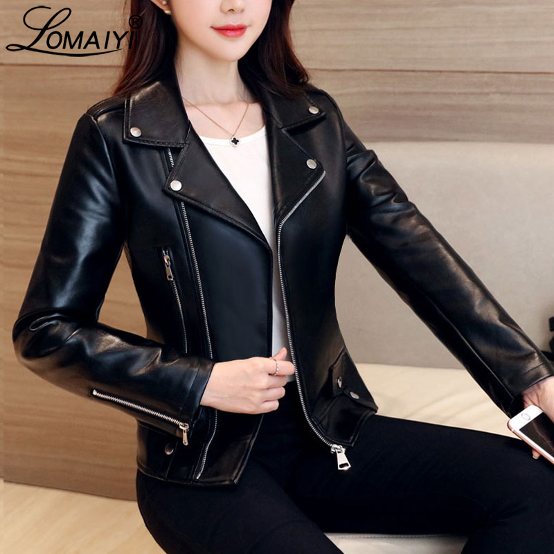 LOMAIYI Women's Moto Biker Zipper Jacket Women Asymmetric Zip Leather Jackets Autumn Shiny Coat Girls PU Leather Jacket BW059
