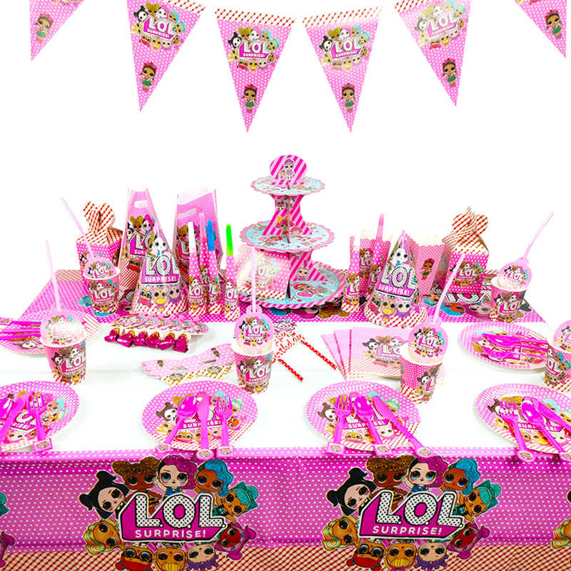 LOL Surprise Doll Birthday Party Decoration Toys Set Cartoon Anime Action Figure Model Family Party Tableware Toy Child Gift