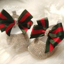 Marque inspirée infantile souvenir cristal personnalisé à la main bébé princesse chaussures tous les cristaux de couverture cadeau danniversaire bling chaussures