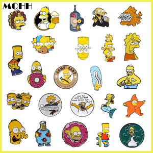 Cartoon Fun Anime Character Simpsons Happy Family Enamel Brooch Round Alloy Badge Cowboy Clothes Bag Pin Cute Jewelry Gift Kid