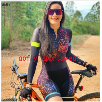 20 colors womens long sleeved skinsuit go pro team cycling jumpsuit Pro sister triathlon roadbike mtb clothing summer