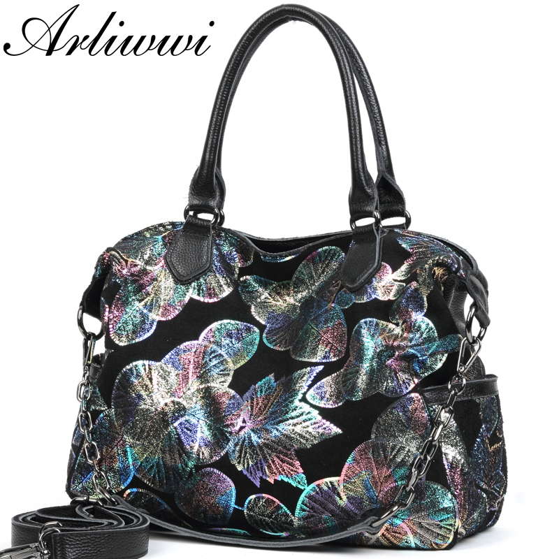Arliwwi ブランドデザイナー大女性リアルレザー花トートバッグ新光沢のある花のエンボス加工の女性ショルダーバッグ  グループ上の スーツケース & バッグ からの トップハンドルバッグ の中 1