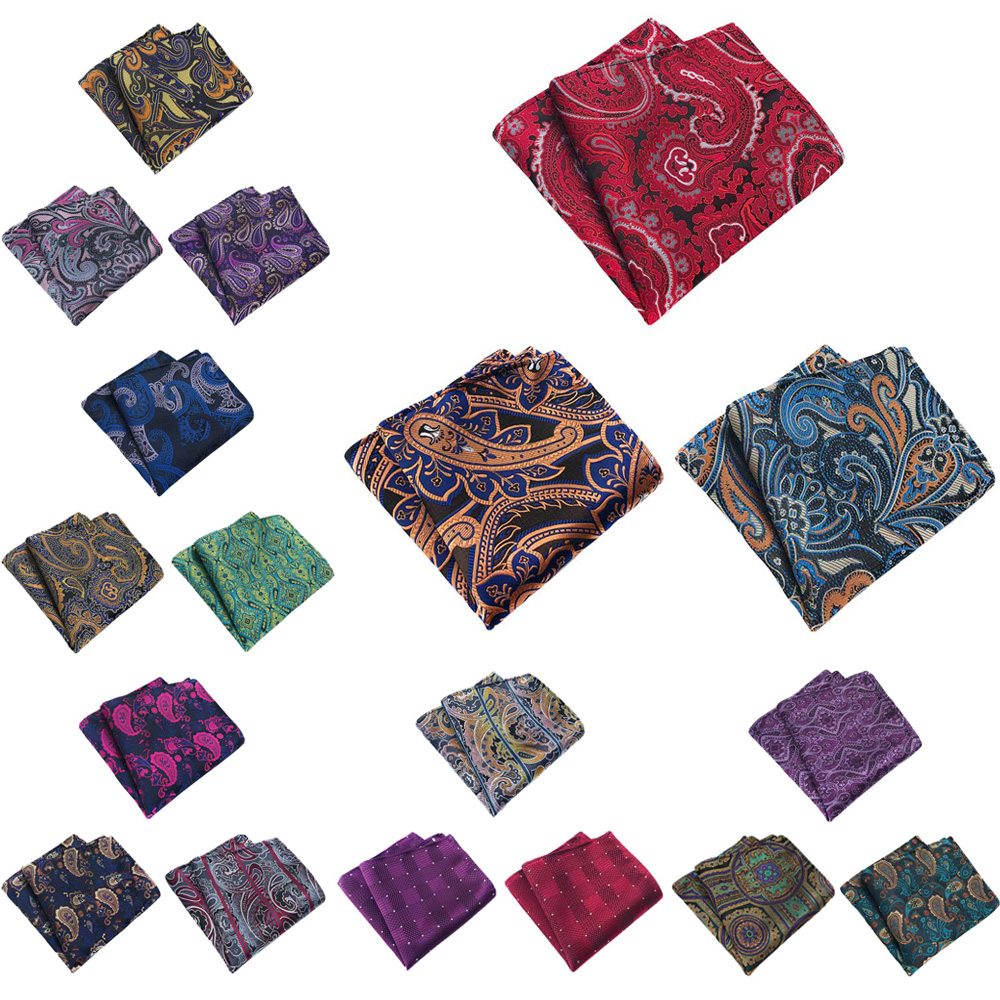 3 Packs Men's Classic Paisley Floral Pocket Square Handkerchief Wedding Hanky BWTHZ0361