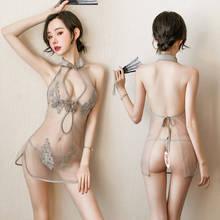 Sexy Lingerie Dress Porno Sleepwear Women's Sense Of Interest Underwear Tempting Belly Bag Style Cheongsam Pajamas Ice Silk Robe