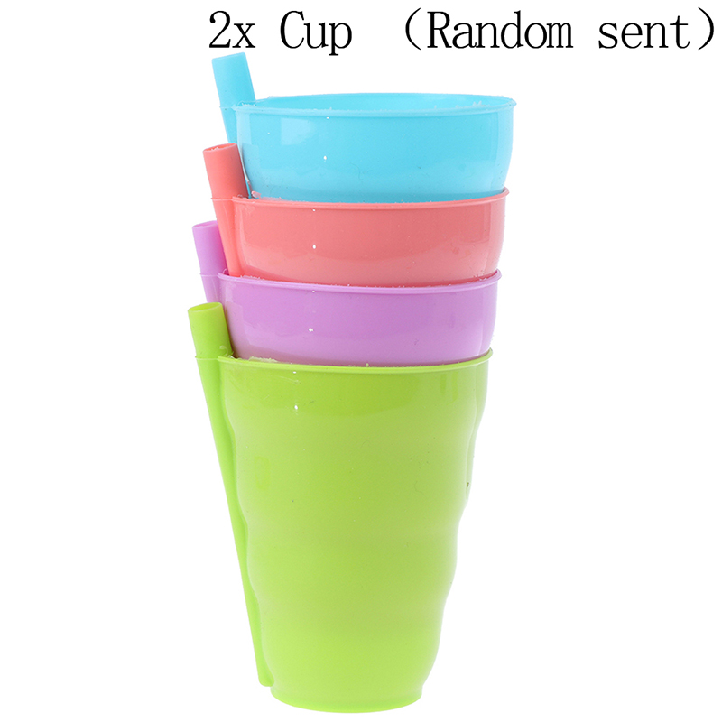 2Pcs Candy-colored Plastic Drinking Cup Children's Straw Cup Fruit Milk Cup Baby Learns To Drink Soft And Thin Portable Cup