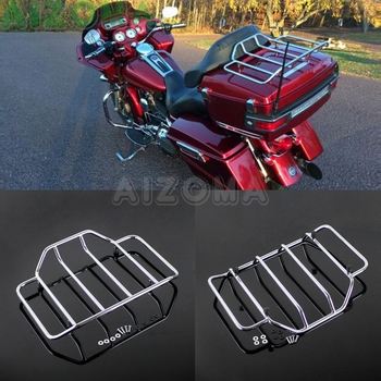 Chrome Motorcycle Tour Pack Luggage Top Rack for Harley Touring Electra Street Glide FLHT FLHR FLHS Road King FLH Road Glide for harley touring road king street glide electra glide detachable backrest sissy bar with stealth luggage rack 2009 2018 2019