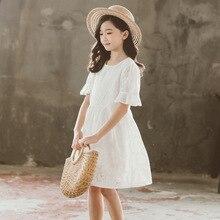 חדש 2020 קיץ ילדי שמלות ילדה כותנה לבן ילדי בגדי רקמת פרח תינוק נסיכת שמלה עם רירית, #5204