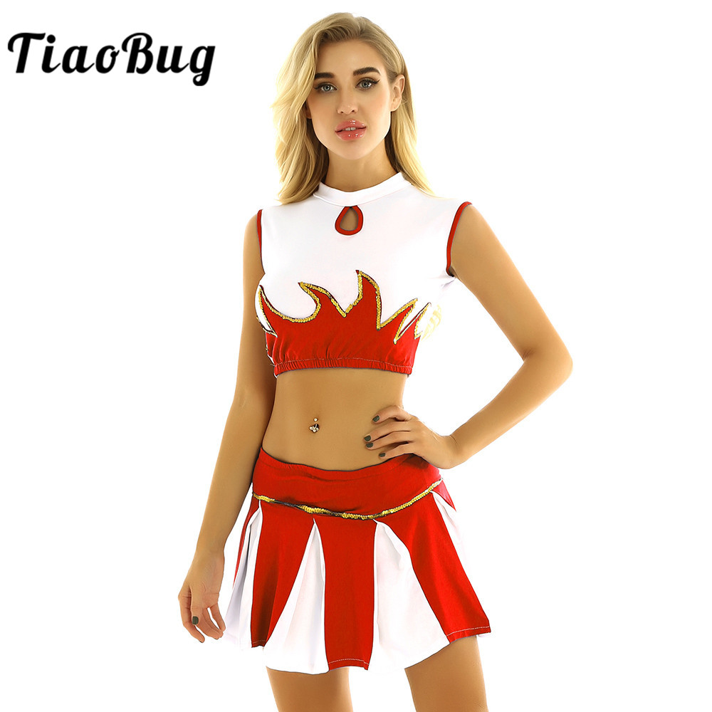 TiaoBug Women Mock Neck Sleeveless Crop Top With Shorts Skirt Outfit Stage Performance Jazz Dance Costume Cheerleading Uniform