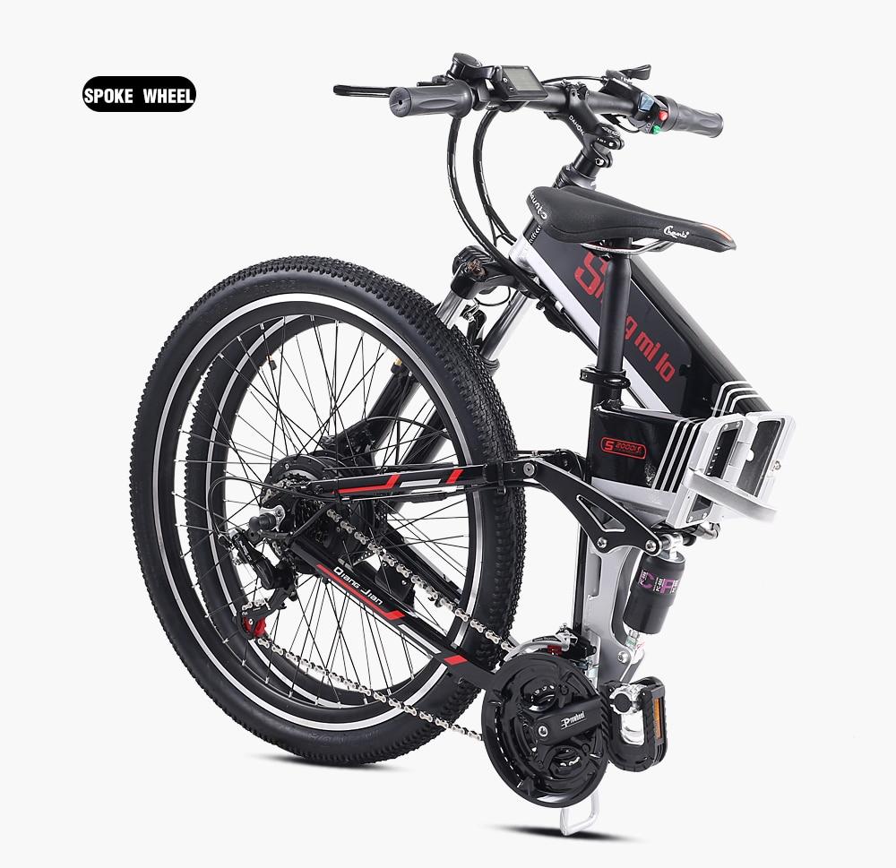 Новый электрический велосипед 21 Скорость 10AH 48V 350W 110 км встроенный литий ионный аккумулятор Байк, способный преодолевать Броды Электрический 26 внедорожный Электрический складной велосипед - 5