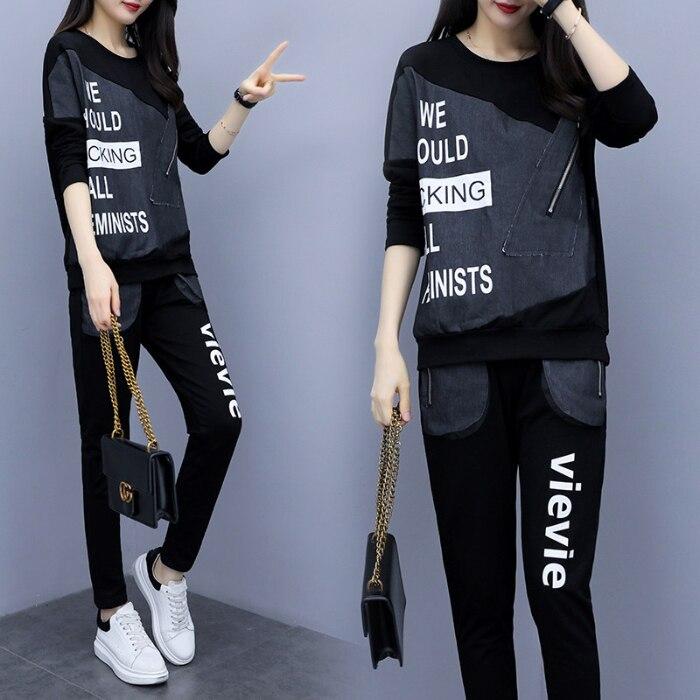 2019 Autumn Black Letters Print Two Piece Sets Sport Outfits Women Plus Size Denim Patchwork Tops And Pants Suits Casual Fashion Tracksuit 25
