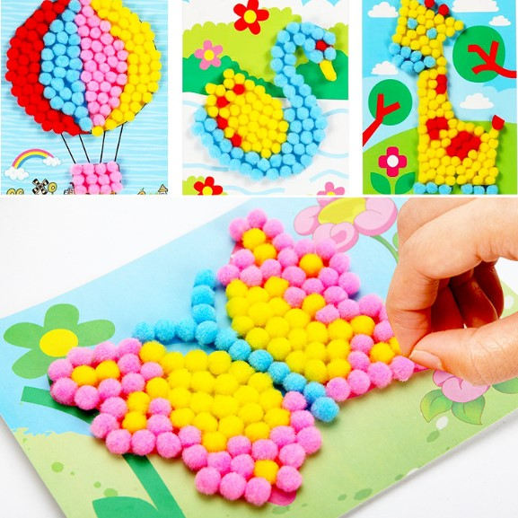 8 Pcs Lot Baby Kids Creative DIY Plush Ball Painting Stickers Children Educational Handmade Material Cartoon Puzzles Toy BS138