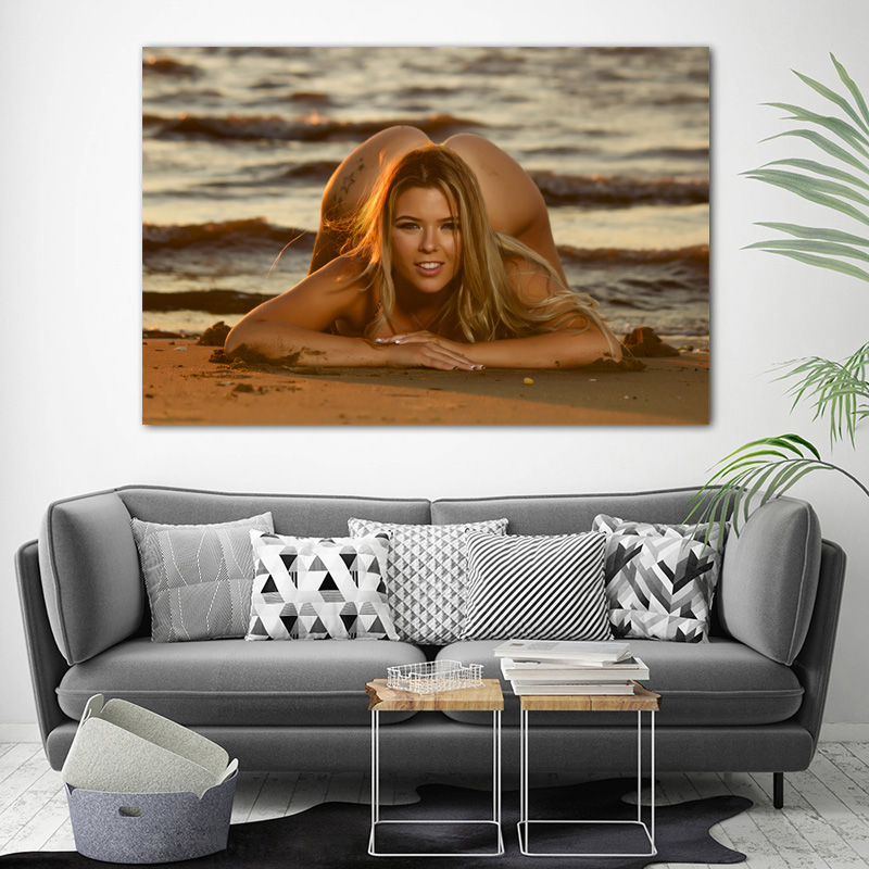 Blonde girl sexy model sea beach photo Decorative paintings Wall Art Posters and Prints Canvas Art For Room Decor 2