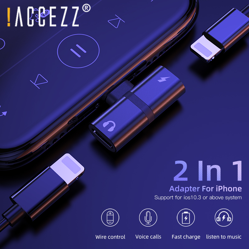!ACCEZZ Mobile Phone Adapter For iphone X 8 7 XS MAX XR Dual Lighting AUX Splitter Earphone Audio Fast Charge Listening Adapter