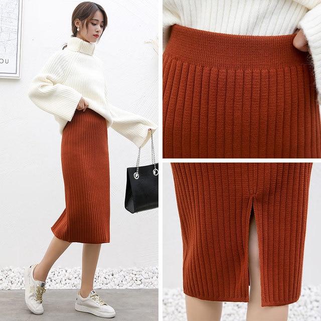 2020 spring and fall Women Long Skirt Elastic Waist Warm Knitted Straight Slim Elegant Black Pencil Skirts faldas jupe femme 5