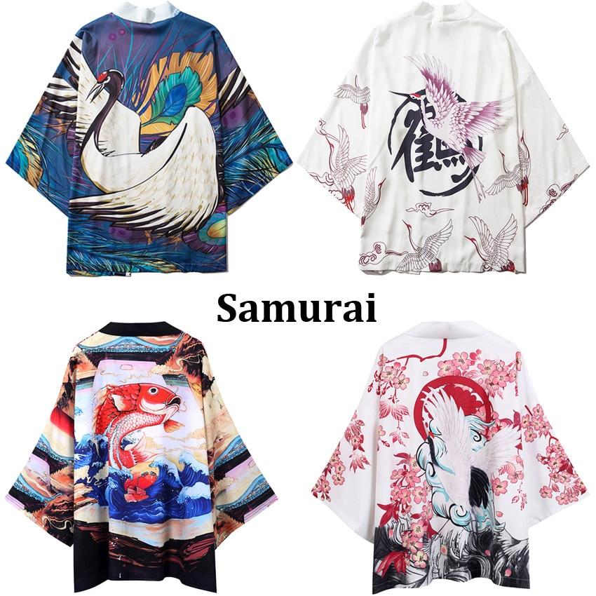 Couple Women Men Harajuku Loose Kimono Haori Japanese Style Thin Crane Print Samurai Casual Summer Coat Jacket Streetwear