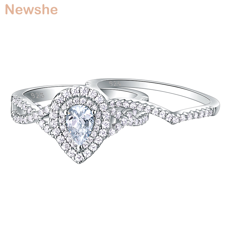 Newshe 2 Pcs 925 Sterling Silver Wedding Rings For Women Engagement Ring Sets 1.7Ct Pear Shape Teardrop Cz BR0829