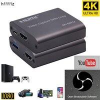 Hdmi placa de captura de vídeo hd 1080p 4k 60hz, hdmi para usb 3.0, captura de vídeo de jogos de tabuleiro, gravação de streaming ao vivo, transmissão local, loop out
