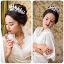 Nueva Tiara barroca de plata Vintage para La novia de la Reina corona de cristal Rosa nupcial boda accesorios de moda para el pelo de la joyería de la boda