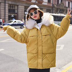 Warm Winter Jacket Women 2019 Fashion Hooded Fur Collar Down Cotton Coat Women Korean Solid Color Loose Large Size Female Coat 2