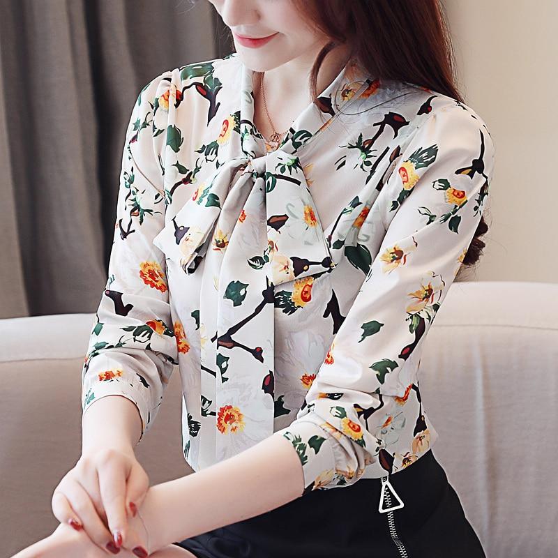 fashion womens tops and blouses 2020 new print chiffon blouse shirt bow V collar office blouse long sleeve women shirts 2432 50 3