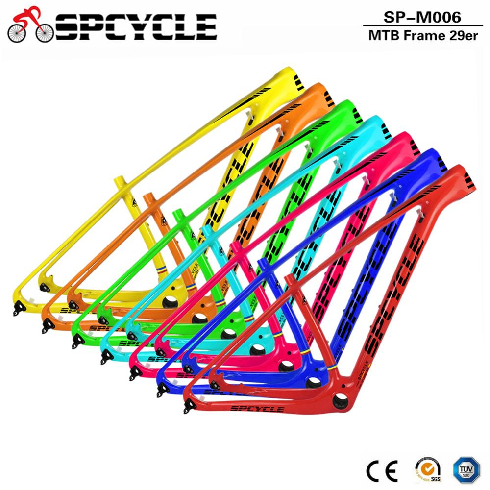 Spcycle 29er Full Carbon MTB Bicycle Frames T1000 Carbon Mountain Bike Frames Size 15/17/19/21inch PF30 142*12mm Thru Axle