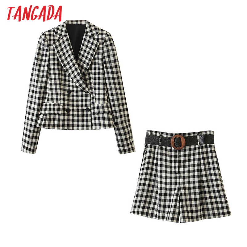 Tangada 2020 autumn women plaid print blazer double breasted pants set female casual suit 2 piece set blazer and shorts QW18