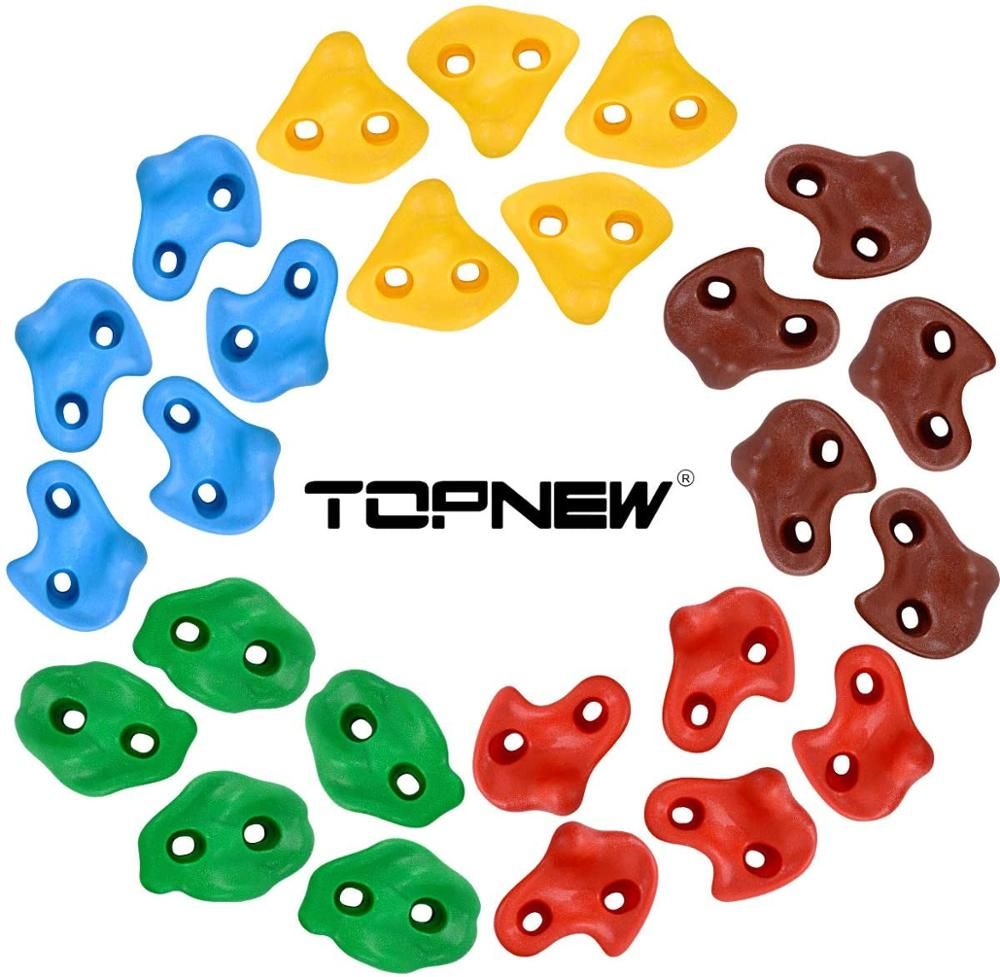 TOPNEW 25 Rock Climbing Holds for Kids and Adults, Large Rock Wall Grips for Indoor and Outdoor Play Set - Build Rock Climbing