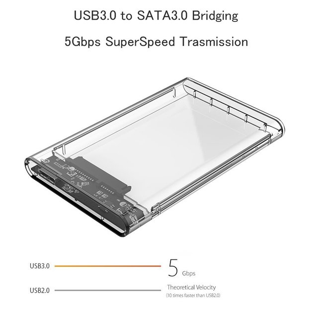 Reletech Hdd Case SATA  USB 3.1 External Hard Drive Case Enclosure with Cable for 2.5  SSD SATA Interface 5Gbps  hd externo 5