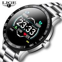 LIGE Stahl Gürtel Smart Uhr Männer Herz Rate Blutdruck Gesundheit Überwachung Sport Wasserdichte Sport Smartwatch Fitness Tracker-in Smart Watches aus Verbraucherelektronik bei