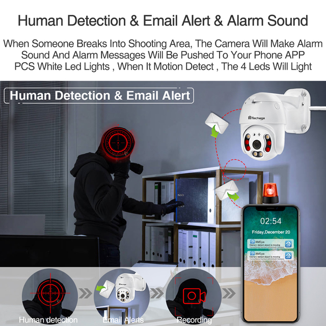 Techage 2MP Security POE IP Camera 1080P PTZ Dome AI Video Camera Two Way Audio Human Detect Surveillance TF Card for NVR System 3