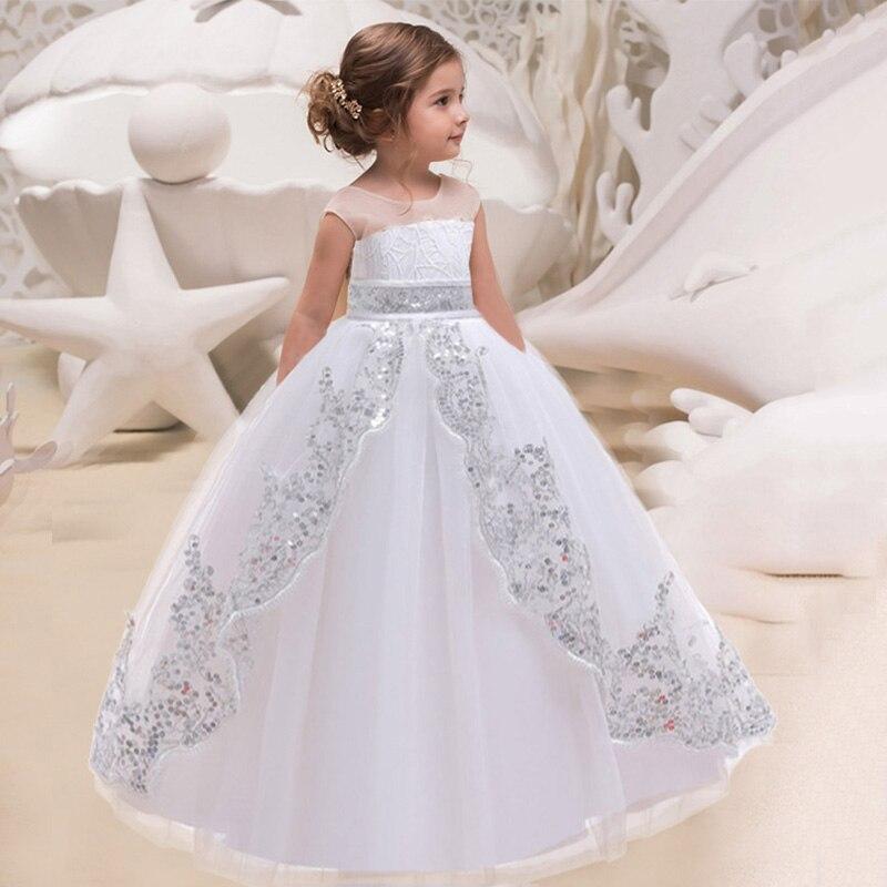 Белое длинное платье подружки невесты, одежда для маленьких девочек, украшенное пайетками вечерние свадебные платья, одежда для девочек пл...