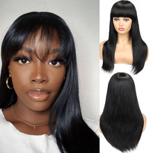 HANNE Brazilian Straight Human Hair Wigs With Bangs Glueless Pixie Cut perruque cheveux humain 100% Natural Wig Remy Hair Wigs