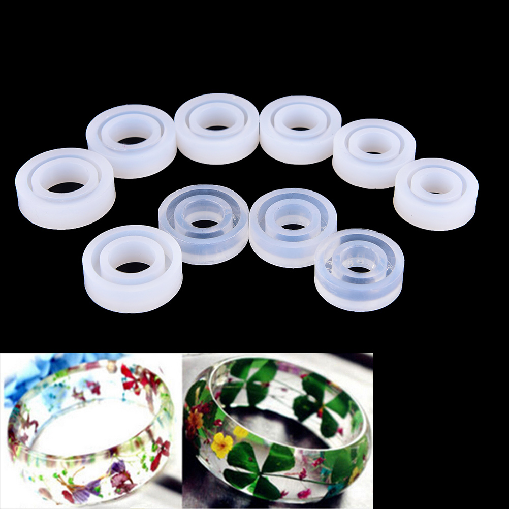 1Pc Flexible Assorted Silicone Ring Mold For Making Resin Epoxy Jewelry DIY Tools Transparent Round Shape