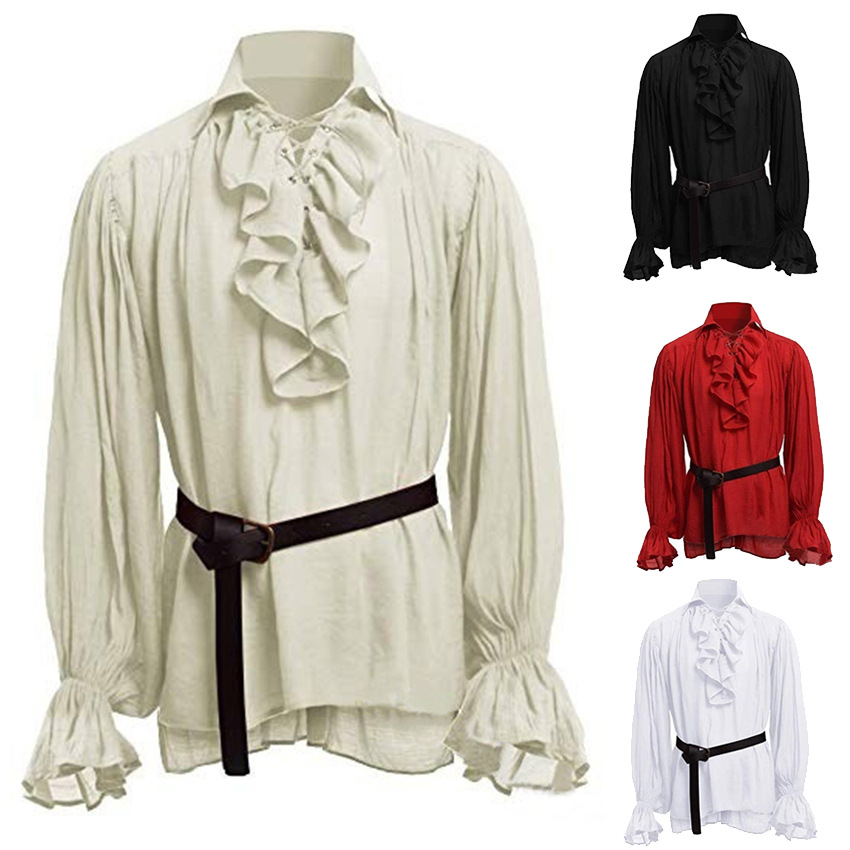 Medieval Renaissance Lacing Up Shirt Bandage Tops For Adut Men Larp Vintage Costume Fluffy Long Sleeve For Male Plus Size S-5XL