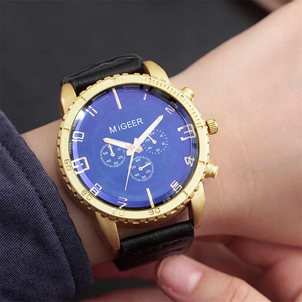 MIGEER นาฬิกา Relogio Masculino นาฬิกาข้อมือผู้ชายกีฬาทหารระดับไฮเอนด์ผู้ชายหนังอลูมิเนียมนาฬิกาข้อมือควอตซ์ 30 *