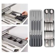 Boîte de rangement de couverts en plastique, bloc de couteaux, support de tiroir, couteaux, fourchette cuillères, support de rangement, support de couteaux, organisateur de cuisine