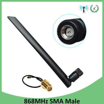 10 Uds 868 MHz 915 MHz antena 5dbi conector macho SMA GSM 915 MHz 868 MHz antena antenne + 21cm RP-SMA/u FL Cable Pigtail