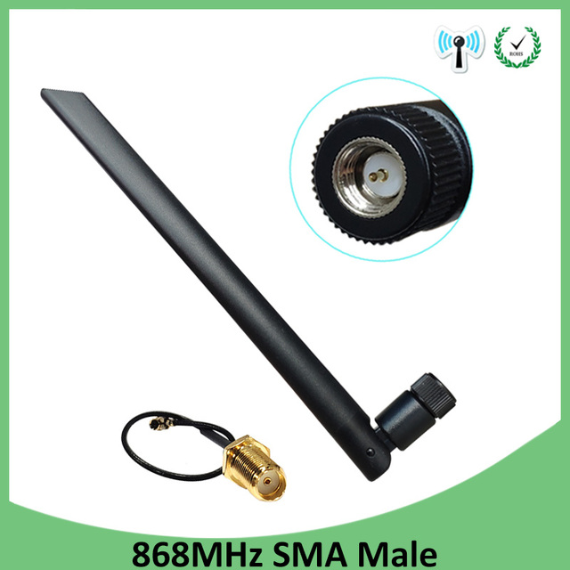 10pcs 868MHz 915MHz Antenna 5dbi SMA Male Connector GSM 915 MHz 868 MHz antena antenne +21cm RP SMA/u.FL Pigtail Cable