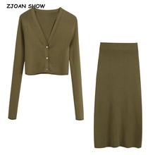 Mini Skirt Army-Green Cardigan Sweater Knitted Single-Breasted-Button Autumn Korea Package