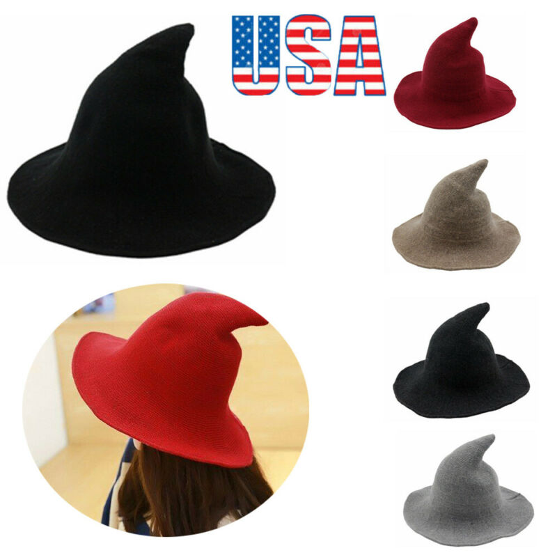 Women/'s Modern Witch Hat Made From High Quality Sheep Wool Halloween Party New