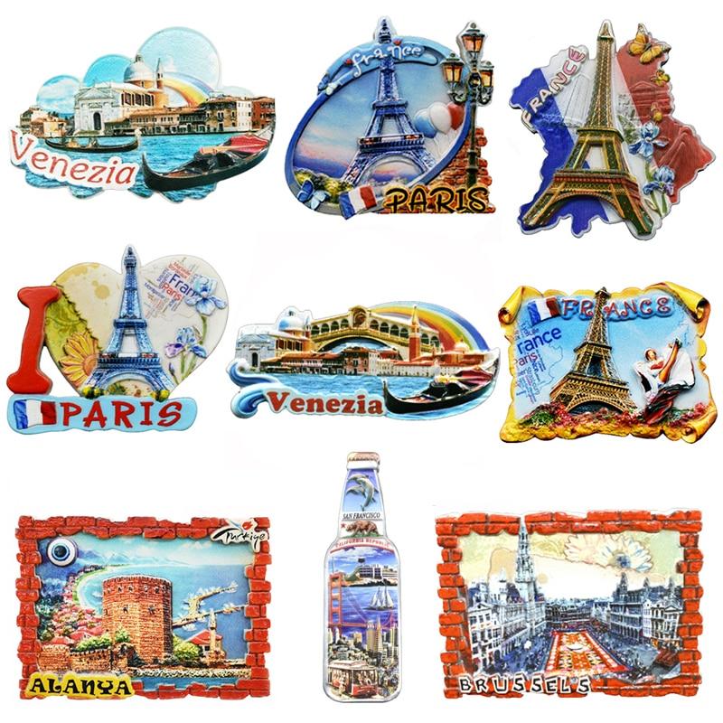 Souvenir Fridge Magnets Country Paris Resin Refrigerator Sticker Travel Turkey Italy Souvenir Magnets for Fridges Greece Tourist(China)
