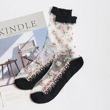 1 Pair Breathable Ultra Thin Socks Summer Women Transparent Lace Silk Crystal Rose Flower Girls Elastic Short Female Sox